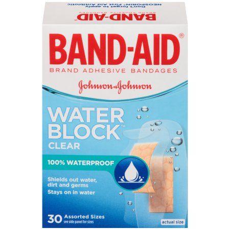 Band Aid Brand Water Block Clear Waterproof Adhesive Bandages 30 Ct Walmart Com In 2021 Band Aid Transparent Adhesive Bandage