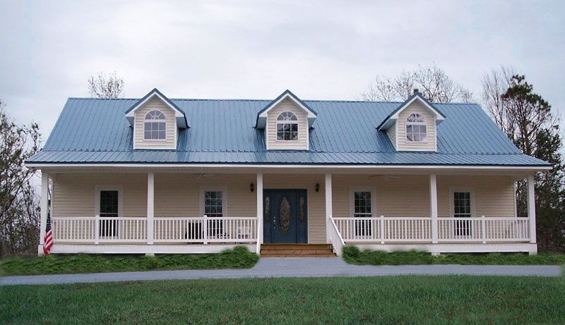 Large Covered Front Porch With Pillars And Railing
