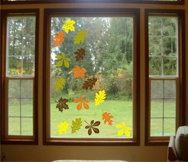 Herbst bl tter aussschneiden fensterbilder fensterdeko - Fensterdeko herbst kindergarten ...