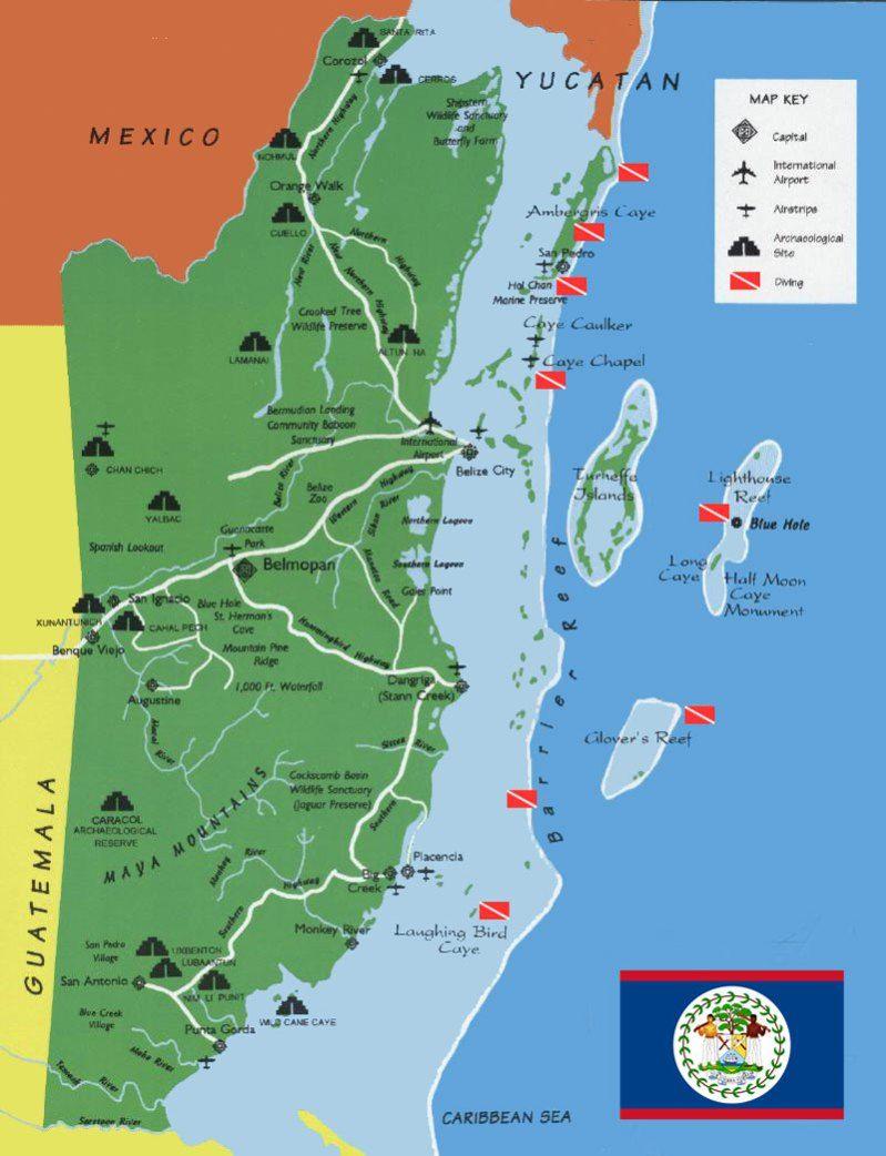 Gtb Map Tourist Belize Karte Map Of Belize Belize Vacations Belize Hotels