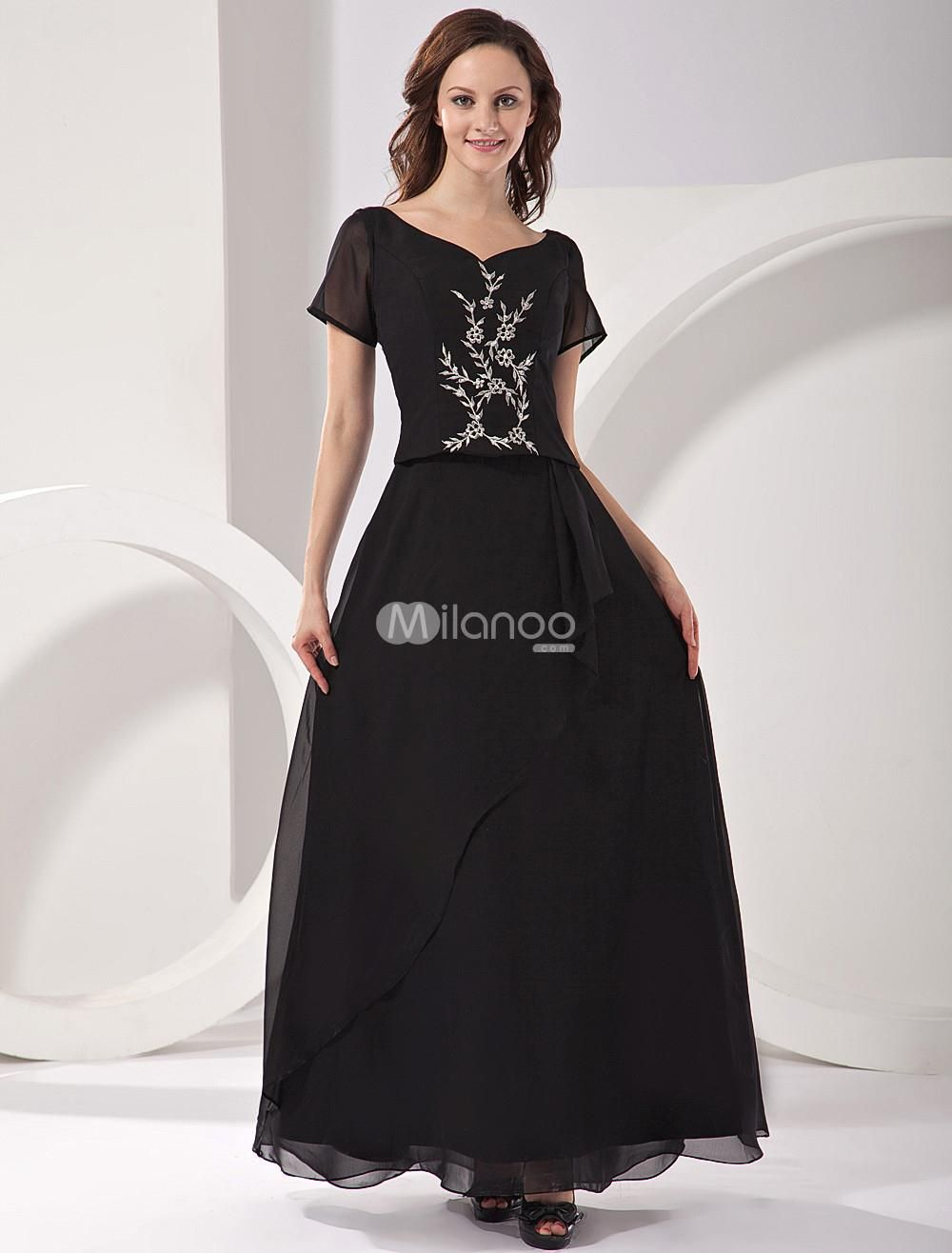 Black Short Sleeves Embroidery Satin Chiffon Mother Of Bride And