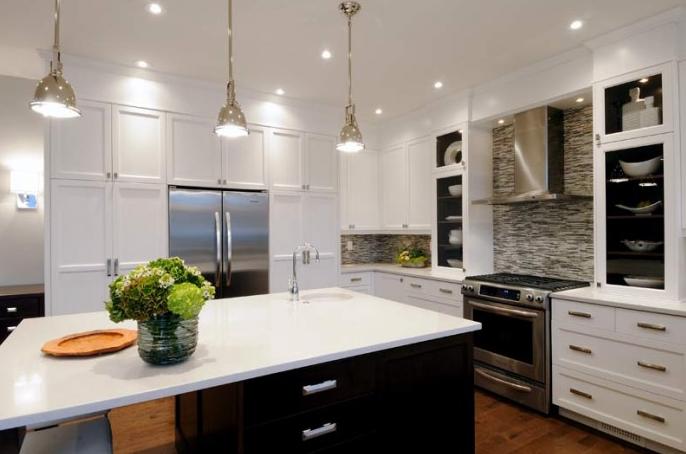 Kitchens   Glass Tiles Backsplash Small Polished Chrome Yoke Kitchen Island  Pendants White Kitchen Cabinets Espresso