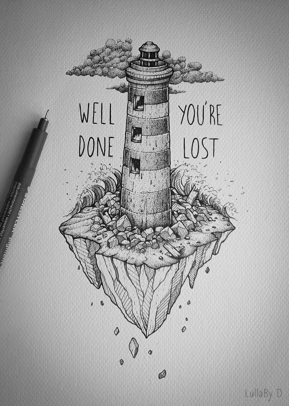 Well done youre lost on behance cute drawings easy drawings sketches