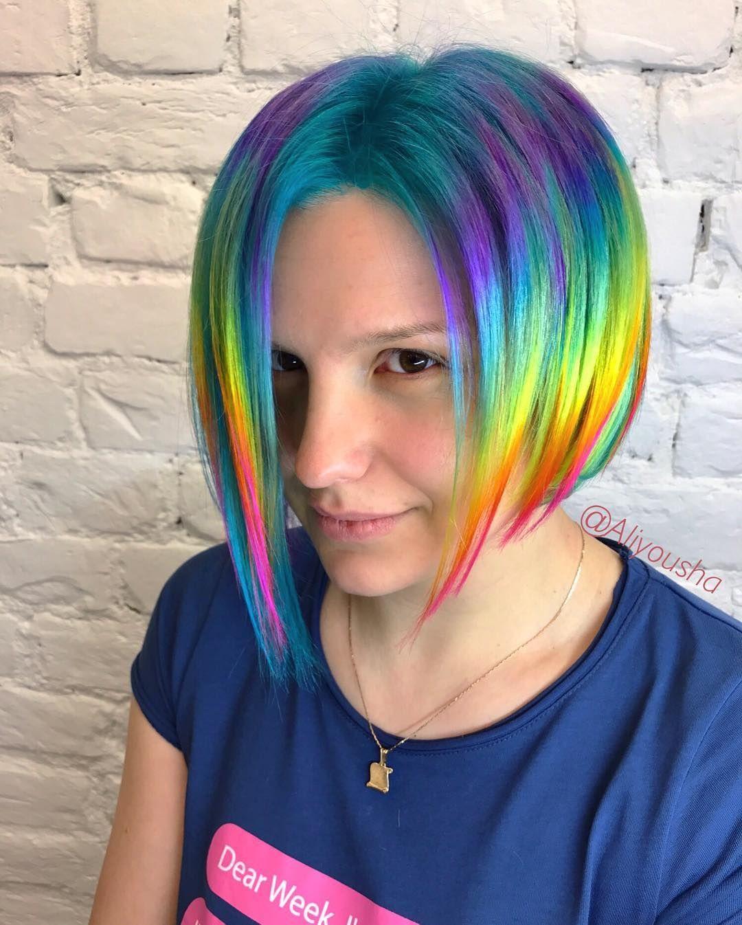After The Rain The Rainbow Always Comes Hairbyaliyousha Raskraskaalechki Cvetnyevolosy Raduzhnyevolosy Rainbowh Beautiful Hair Dye Hair Color Rainbow Hair