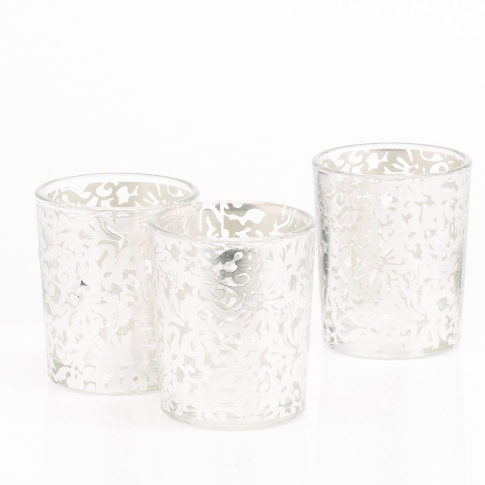 Votive Candle Holders,Tea Light Votive Wraps,Mercury Glass Tealight Candle Holder for Wedding Decor and Home Decor Set of 12 Silver