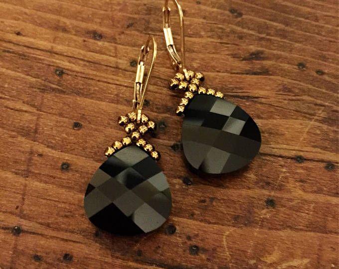 Handmade Black Sparkly Crystal Earrings Handmade Jewelry Custom Jewelry Crystal Earrings