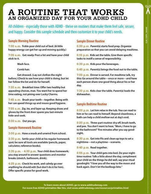 Help Your Child Embrace Change ADHD, Parents and Add adhd - sample schedules