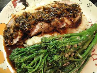 Asian Marinated Grilled Pork Tenderloin with Broccolini with Spicy Sesame Vinaigrette