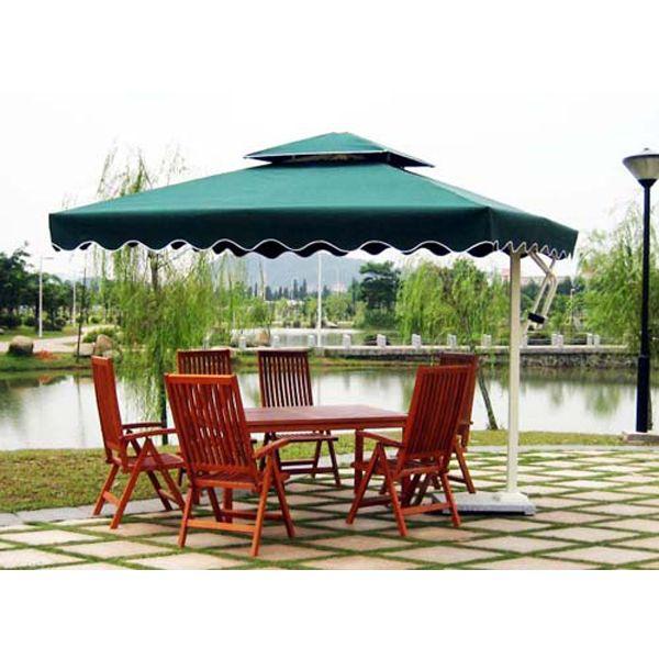Square Green Cantilever Heavy Duty Garden Umbrella