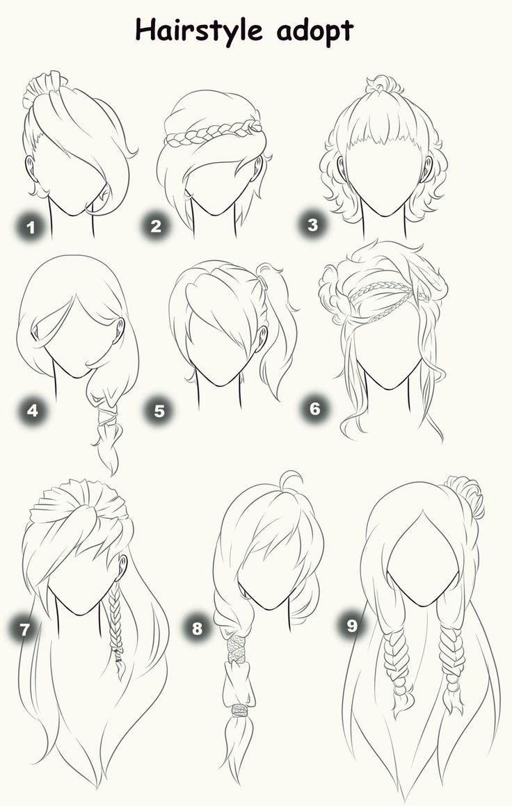 Hairstyle Adopts Closed By X3misteryyuyux3 Deviantart Com On Deviantart Gambar Orang Sketsa Tutorial Gambar Kartun
