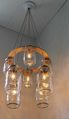 Double decker mason jar chandelier upcycled hanging mason jar double decker mason jar chandelier upcycled hanging mason jar lighting fixture bootsngus lamps modern country rustic home decor aloadofball Choice Image