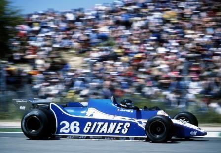 Jacques Lafitte driving his Ligier-Matra for a win in the 1977 Swedish Grand Prix.