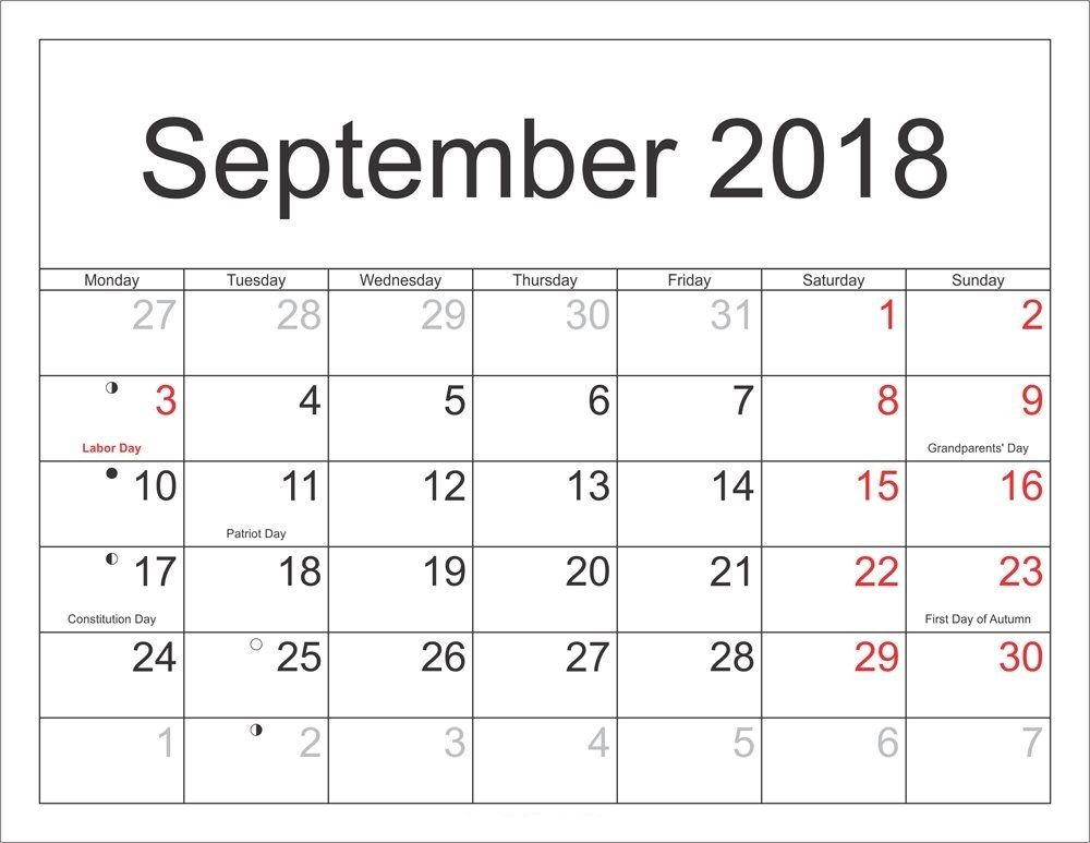 2018 September Calendar Excel September Calendar 2018 Pinterest