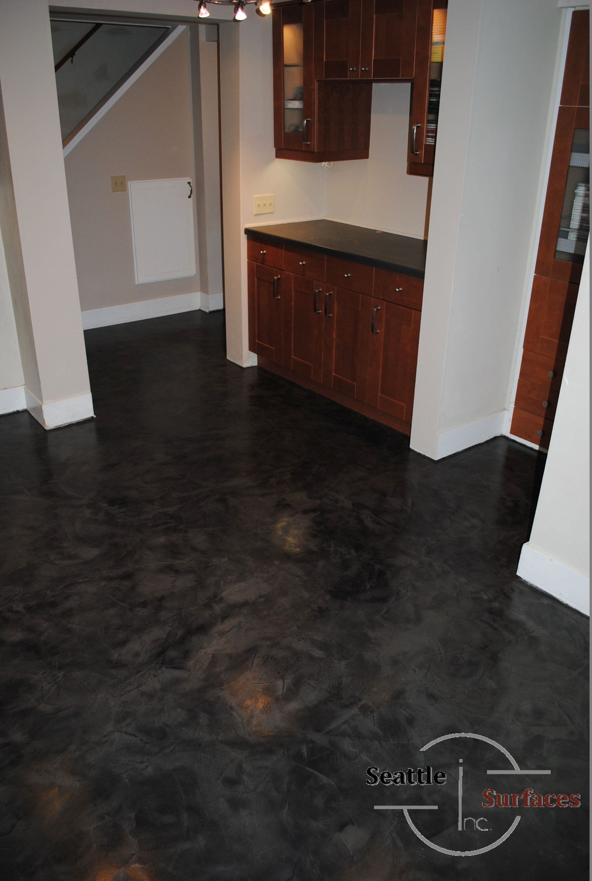 Skimstone Concrete Micro Topping In Basement After Carpet