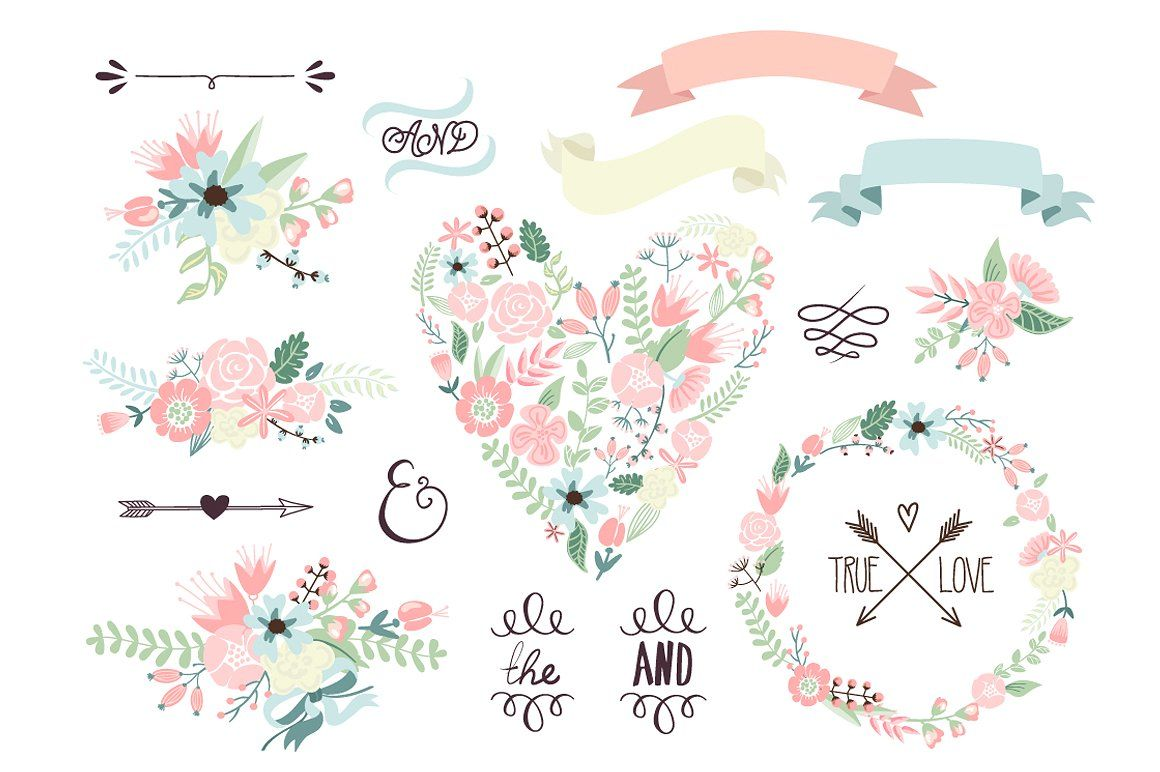 Wedding Floral Clipart Wreath Heart Flower Clipart Floral