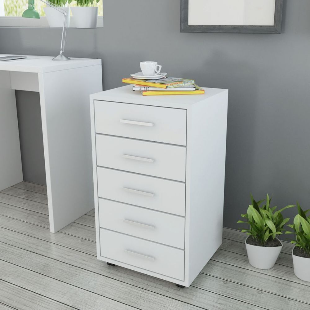 Rolling Office Drawer Mobile Filing Cabinet Unit 5 Drawers White ...