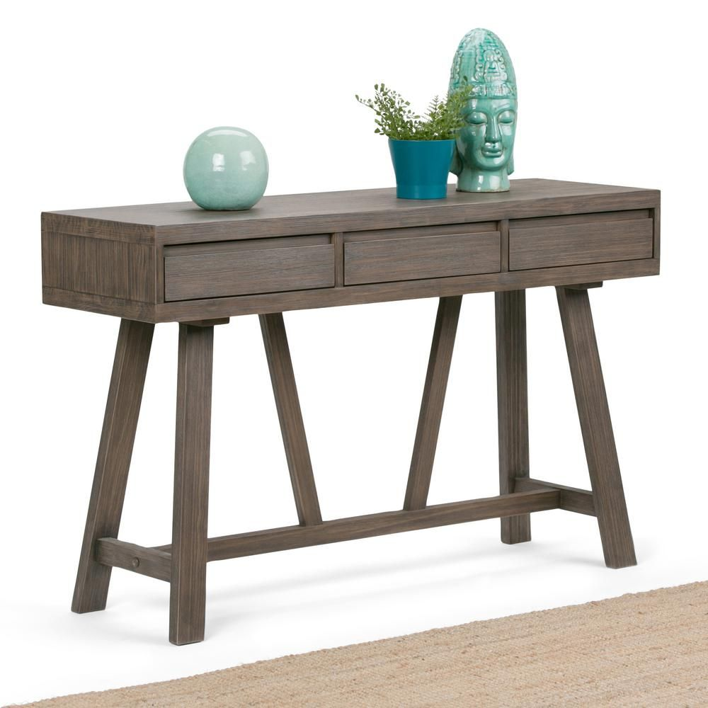 Simpli Home Dylan Driftwood Storage Console Table 3AXCDLN 04