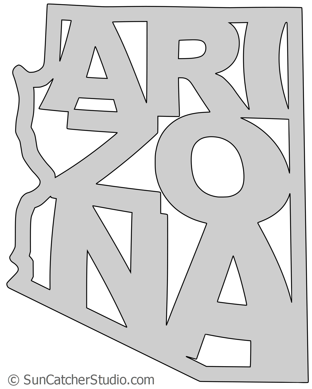 Arizona - Map Outline, Printable State, Shape, Stencil