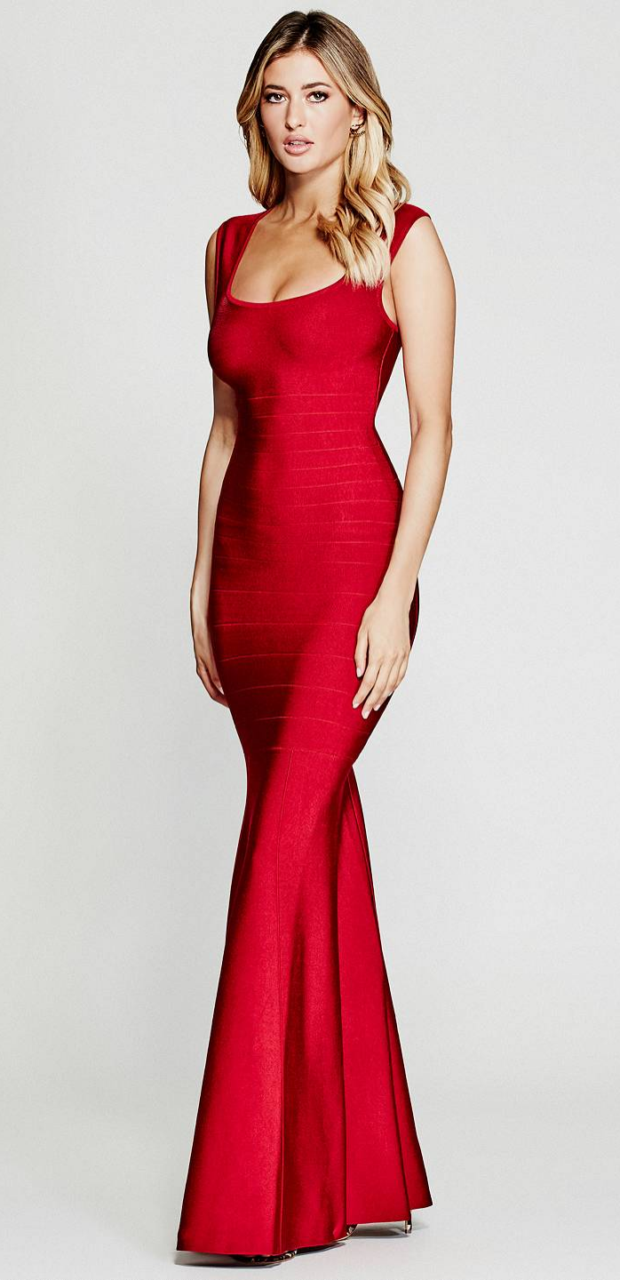 5b3c7ea9d5a6 The Natalia Bandage Gown in rich red