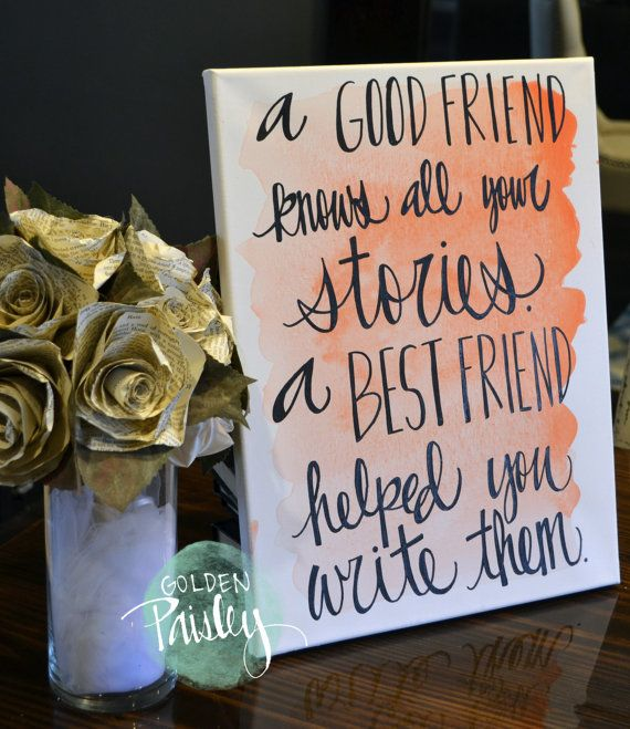 bridesmaid gift watercolor friendship quote canvas painting blush pink good friend canvas wall. Black Bedroom Furniture Sets. Home Design Ideas
