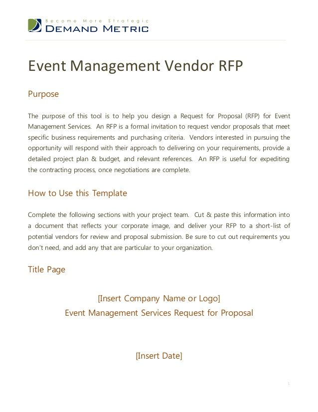 Event Management RFP Template RFP (Request for Proposal - rfp response cover letter sample