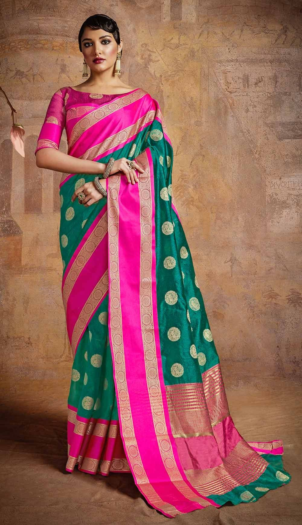 0032f25875 Green Festival Wear Sarees, Silk Festival Wear Sarees, $40.60. Buy latest  Festival Wear Sarees with custom stitching and worldwide shipping.