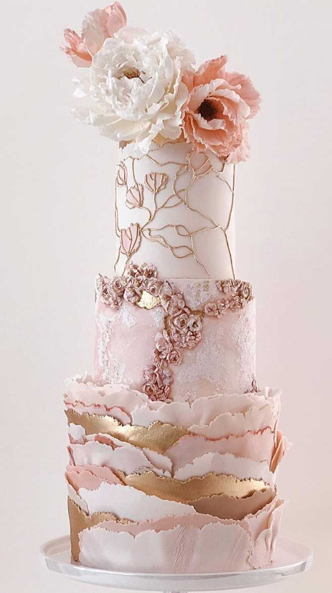 The 50 Most Beautiful Wedding Cakes - Luxury pink wedding cake with gold accents