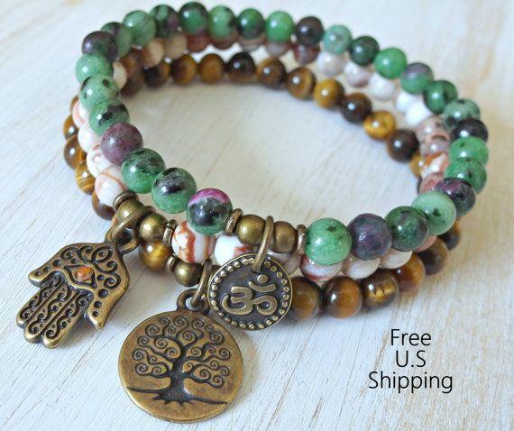 Yoga stack, set of 3, mala bracelets, Yoga bracelets, bracelet set, Reiki Charged, Tiger Eye, Ruby zoisite, Crazy lace, stacking bracelets