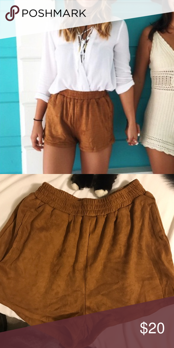 Brown suede shorts Super soft and comfy suede shorts that stretch to fit almost any size! Looks great dressed down or up :) Missguided Shorts