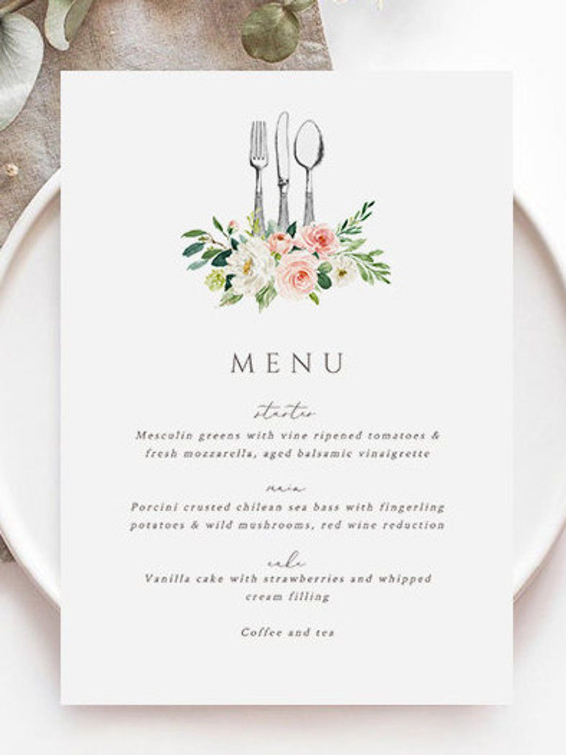 Pink Floral Menu Template Knife Fork Spoon Printable Menu Card Etsy Wedding Menu Template Wedding Menu Cards Printable Menu Cards