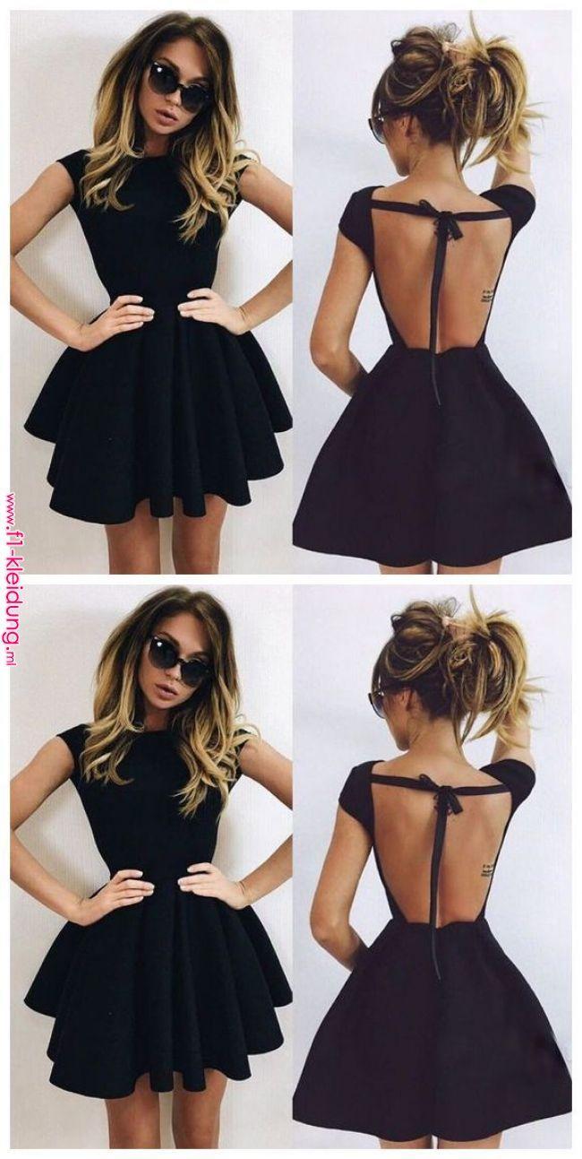 Rückenfreies Heimkehrkleid, schwarzes Abendkleid, kurze