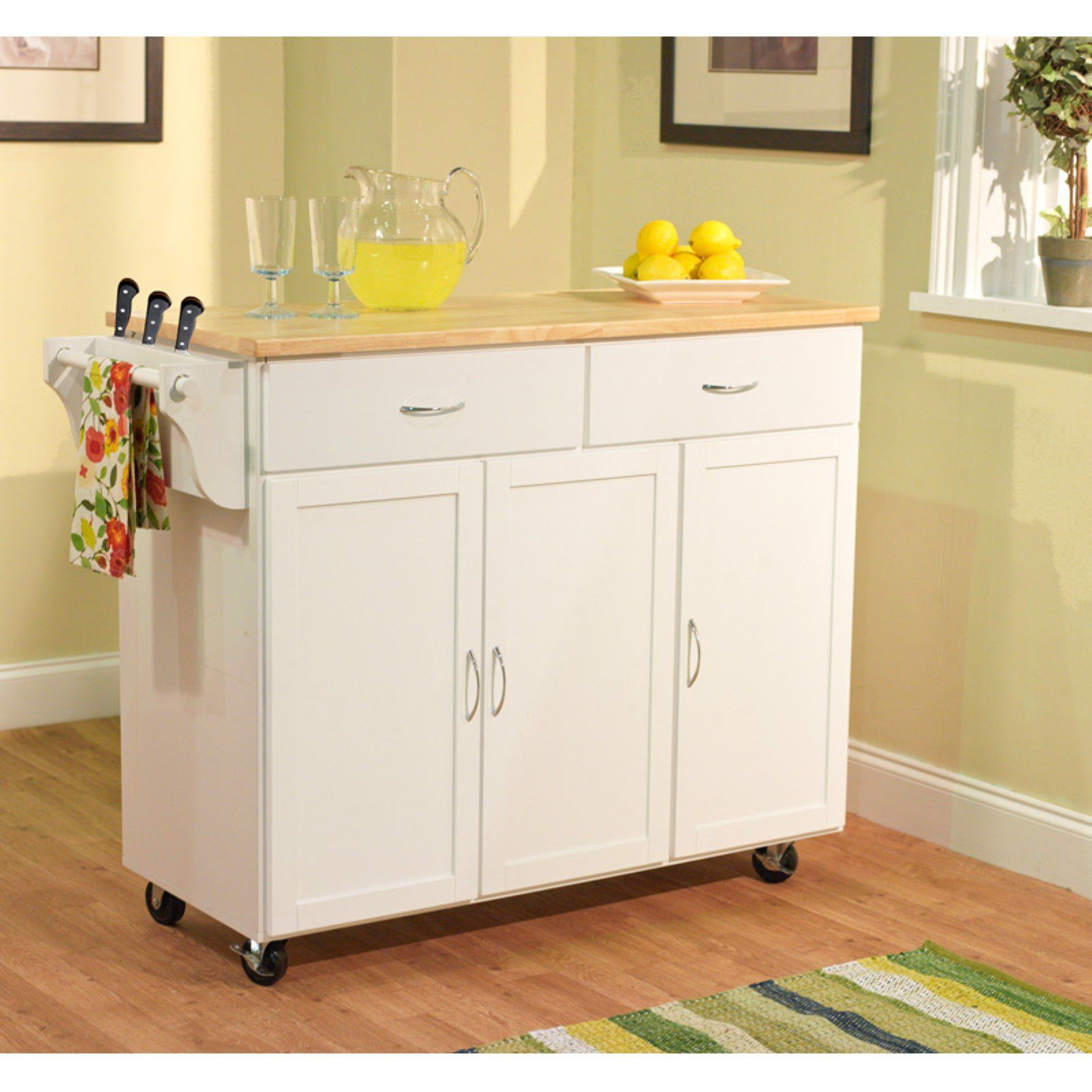 White Target Marketing Systems Monterey Wood Top Kitchen Buffet Cabinet With Three Drawers and Cabinet with Shelf With Towel Bar on Caster Wheels