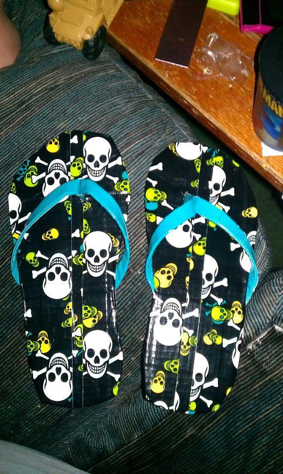 Duct tape skull flip flops
