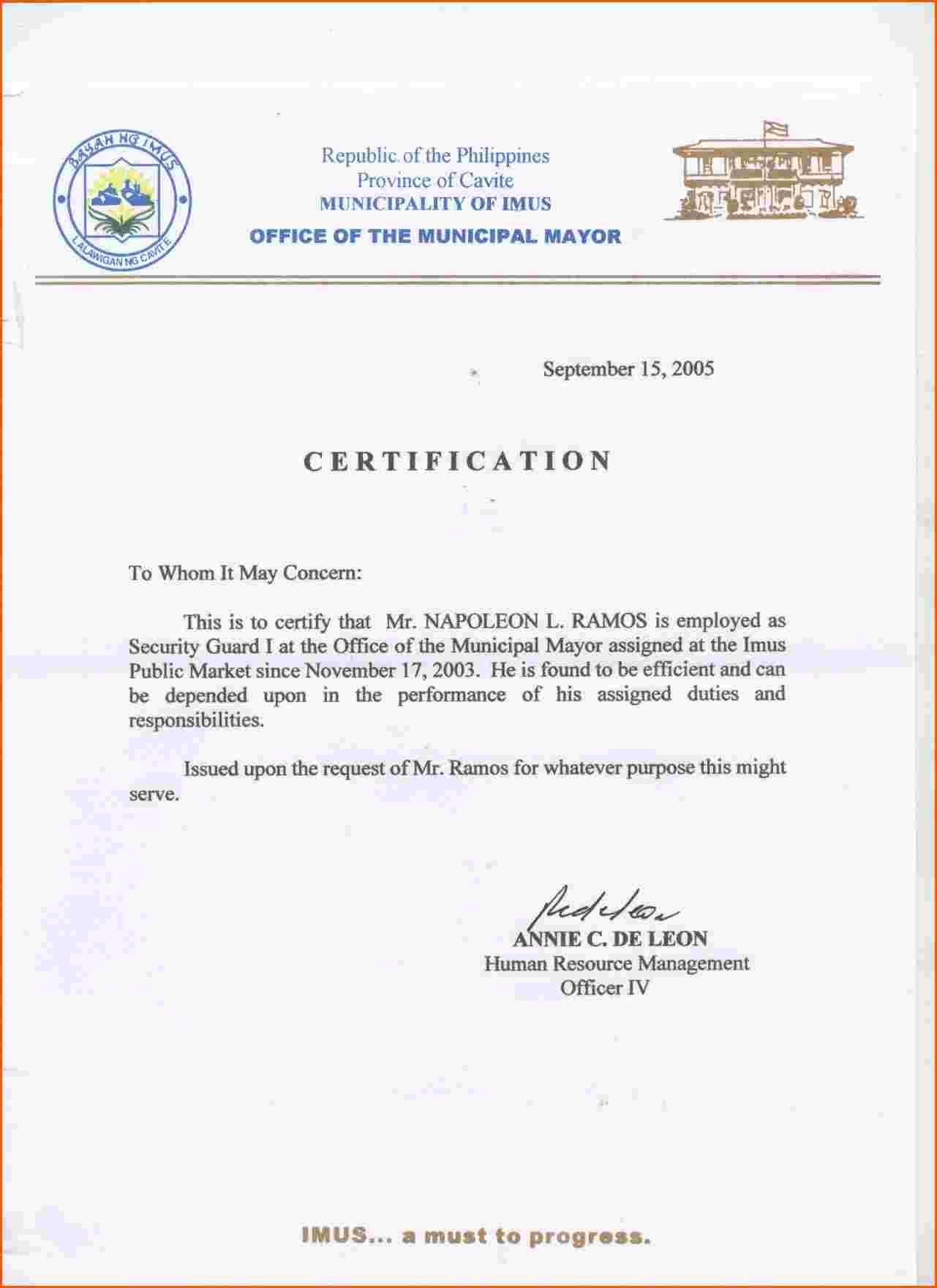 Certification For Employment Sample Certificate Jpg Format Letter
