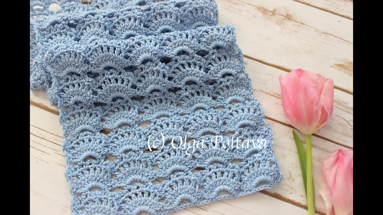 How to Crochet Lacy Scarf, Romantic Spring Scarf, Crochet