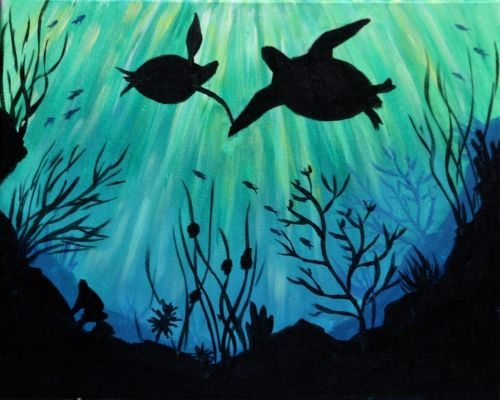 image result for underwater silhouette paintings drawing
