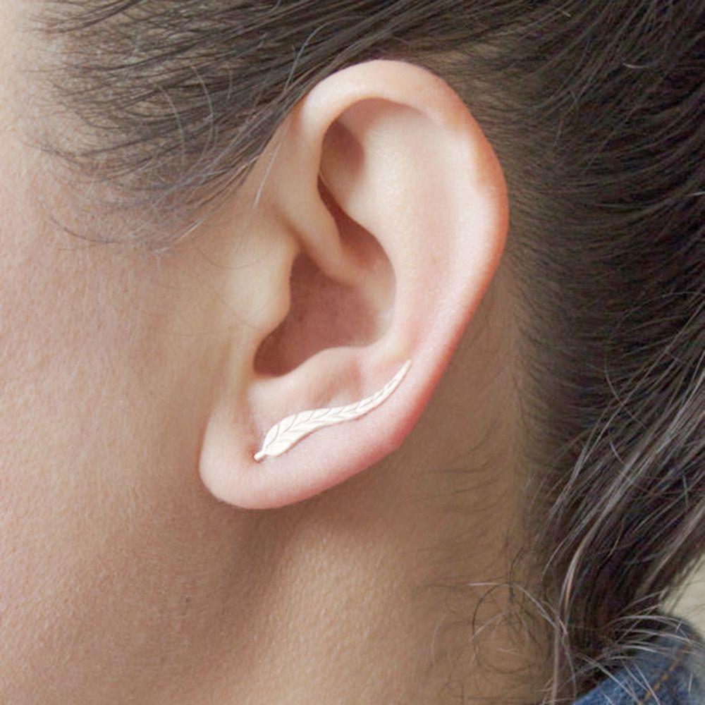 Best nose piercing jewelry  DoreenBeads Girls Women Stud Earrings Leaf Ear Climbers Ear Crawlers
