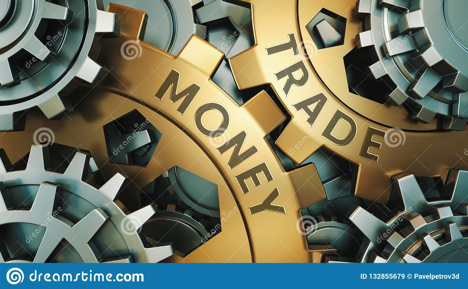 Money Trade Concept Gold And Silver Gear Wheel Finance
