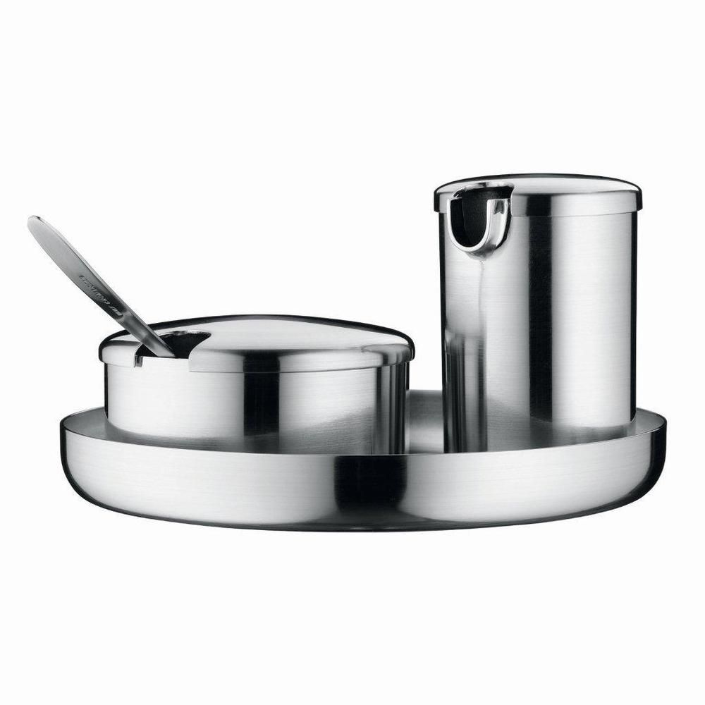 wmf kult coffee mini sugar  creamer set with spoon and tray  wmf  - wmf kult stainless steel mini sugar and creamer on tray