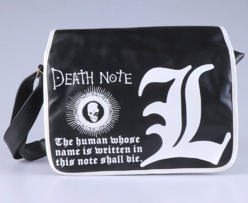 DEATH NOTE fashion L-logo black bag