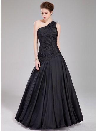 A-Line/Princess One-Shoulder Floor-Length Taffeta Prom Dress With Ruffle