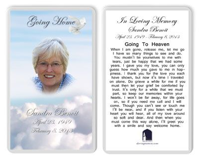 funeral memory cards