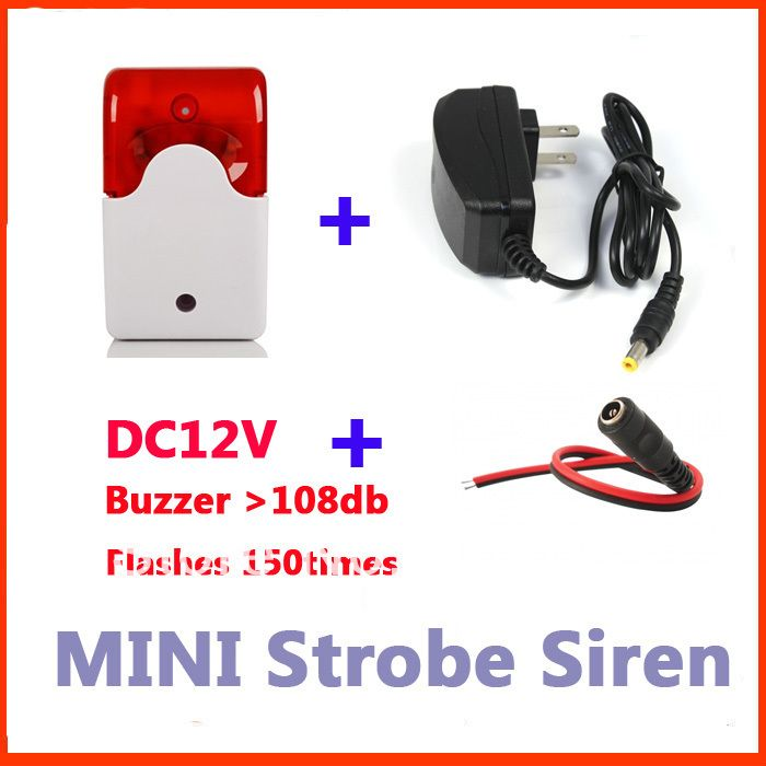 Indoor Mini Wired Alarm Siren With Stroble Flash Light 12v Dc Buzzer 12v1a Power Adapter Buzzer Power Adapter Flashlight