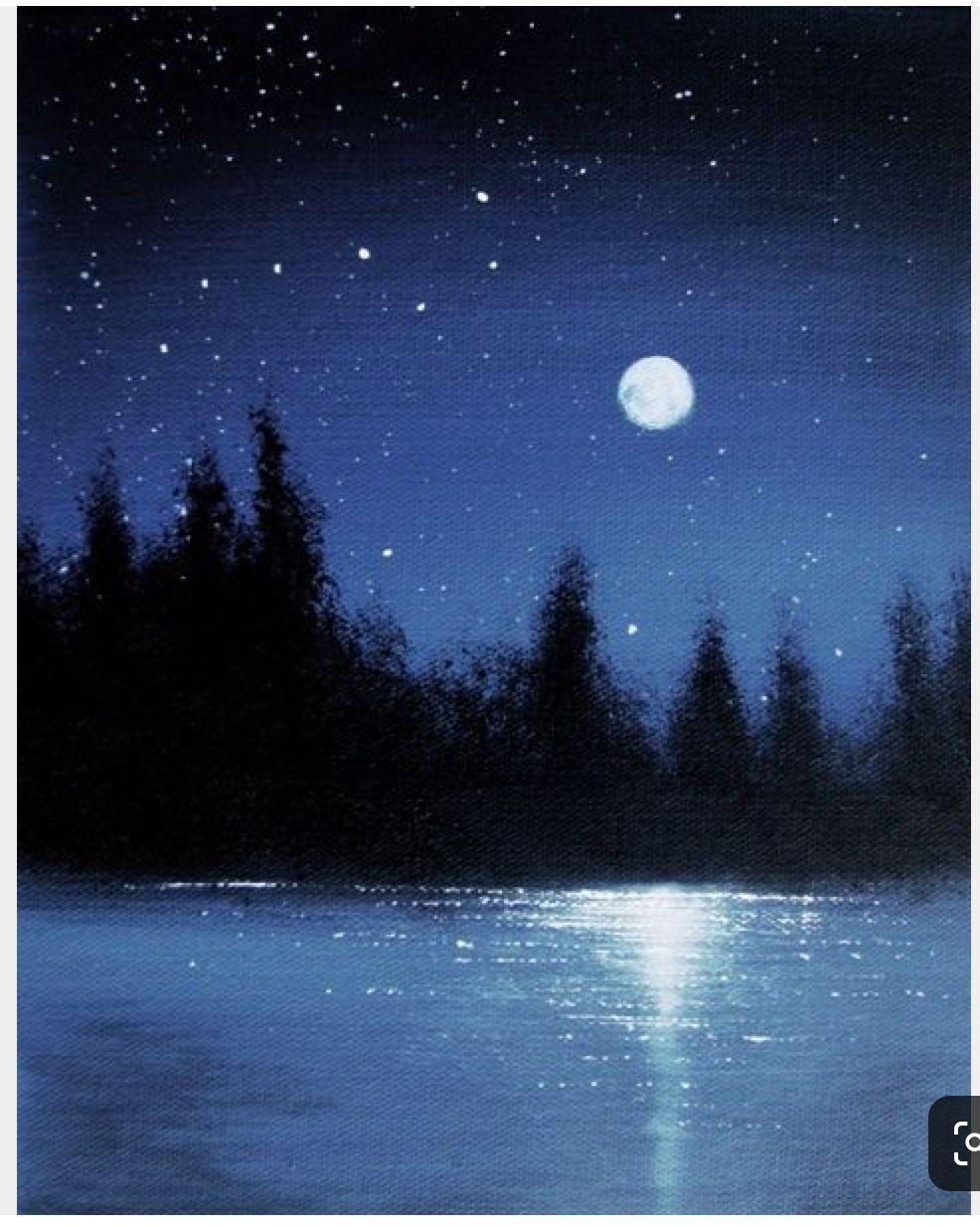 Pin By Pat Maloney On Pass Time Ideas Moonlight Painting Night Sky Painting Moon Painting