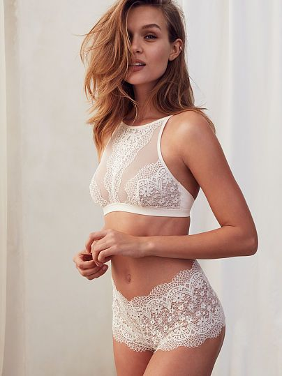 b55cc0b1fa8a4 Crochet Lace High-neck Bralette and The Crochet Lace Sexy Shortie - Body by  Victoria - 36C M