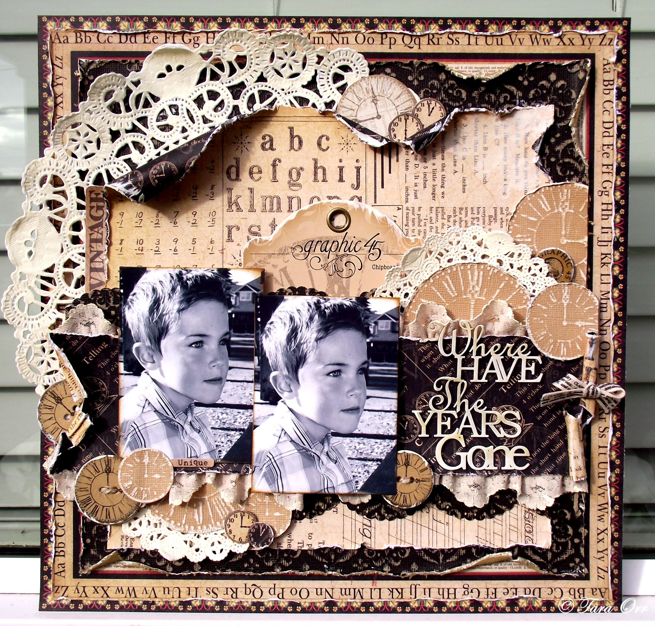 Where Have the Years Gone - Design Team work for Graphic 45 using their amazing An ABC Primer collection.  We hare having a blog hop with Core'dinations right now so come on over to my blog for some more detailed shots and your chance to win an amazing Graphic 45 & Coredinations prize!  http://eachmoment-onlyonce.blogspot.com