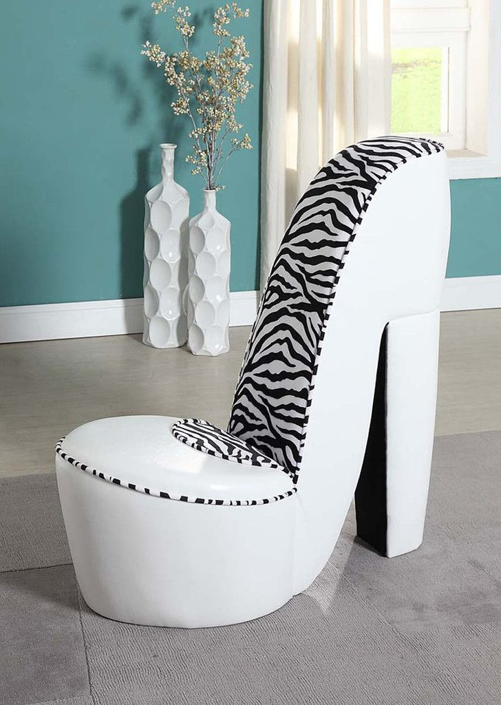 buy white leather stiletto shoe chair with zebra print accents for