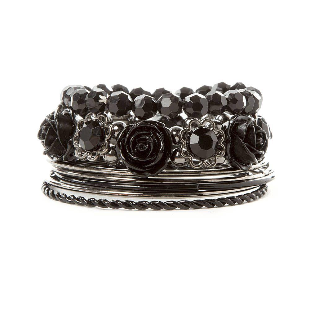 Black carved rose crystal and hematite bangle bracelet set of