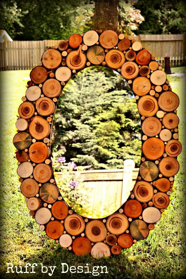 Raw wood slice mirror Ruff by Design Kelly Ruff Kitimat BC https