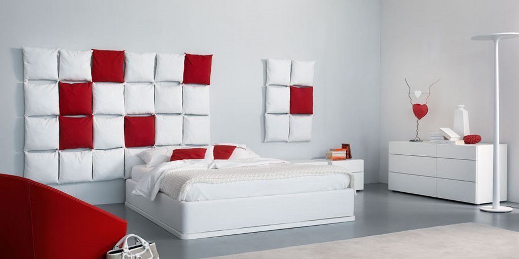 red and white bedroom decor